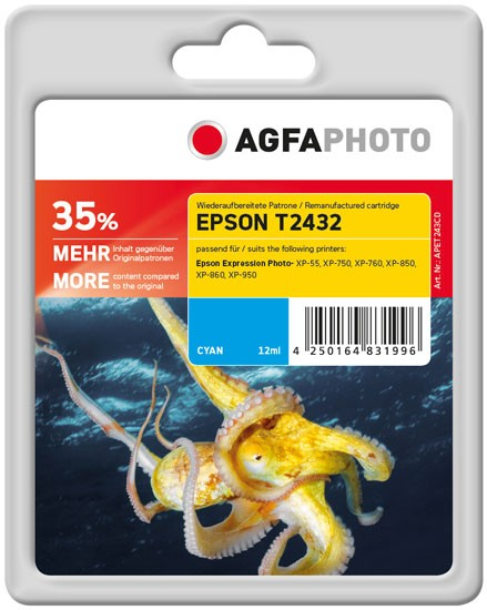AGFAPHOTO Tintenpatrone Kompatibel zu Epson 24XL-T2432-C13T24324010 Cyan