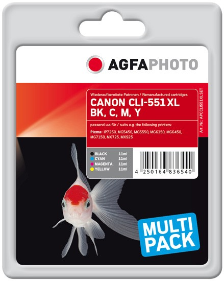 Multipack! AGFAPHOTO Tintenpatronen kompatibel zu Canon 6443B006 / CLI-551XL (4)