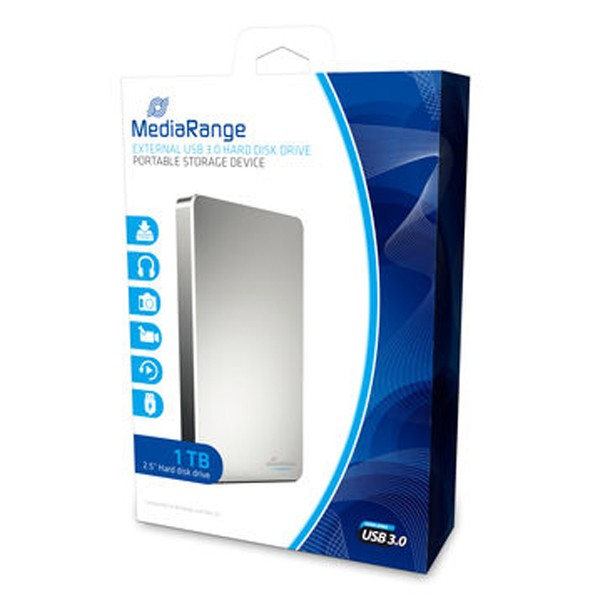 USB 3.0 Externe Festplatte 1TB, MediaRange MR996, 2.5 HDD Drive, 1000GB, silber