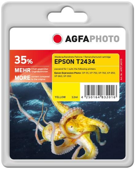 AGFAPHOTO Tintenpatrone Kompatibel zu Epson 24XL-T2434-C13T24344010 Yellow