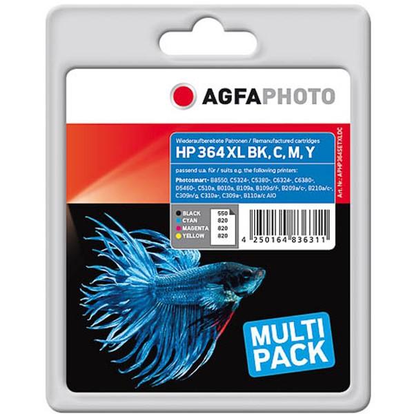 Sparpack! AGFAPHOTO Tintenpatronen Kompatibel zu HP 364XL / N9J74AE (4)