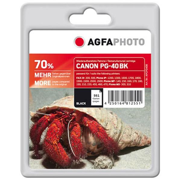 AGFAPHOTO Tintenpatrone Kompatibel zu Canon PG-40 / 0615B001 Black (26ml, 561 S.)