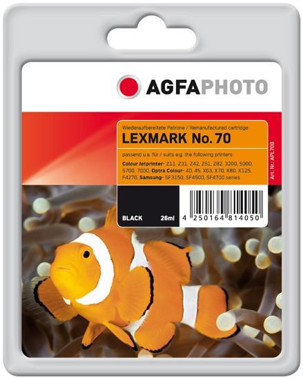 AGFAPHOTO Tintenpatrone Kompatibel zu Lexmark 70 / 12AX970E Black