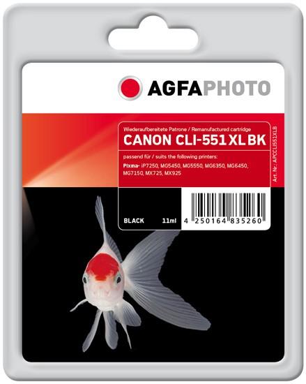 AGFAPHOTO Tintenpatrone kompatibel zu Canon CLI-551XL Black