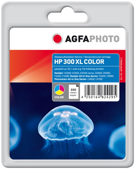 AGFAPHOTO Tintenpatrone kompatibel zu HP 300XL / CC644EE Color (21ml)