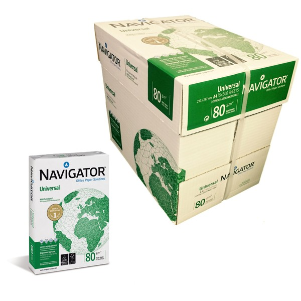 Kopierpapier Navigator, DIN A3, 80g/qm, weiß, 2.500 Blatt