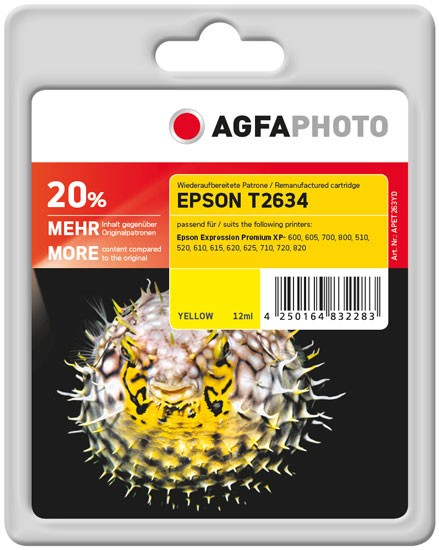 AGFAPHOTO Tintenpatrone kompatibel zu Epson 26XL-T2634-C13T26344010 Yellow