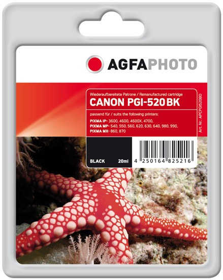 AGFAPHOTO Tintenpatrone kompatibel zu Canon PGI-520 Black