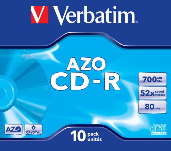 CD-R Verbatim 700MB 80Min.52x Jewel Case Crystal Surf (10 Stck)