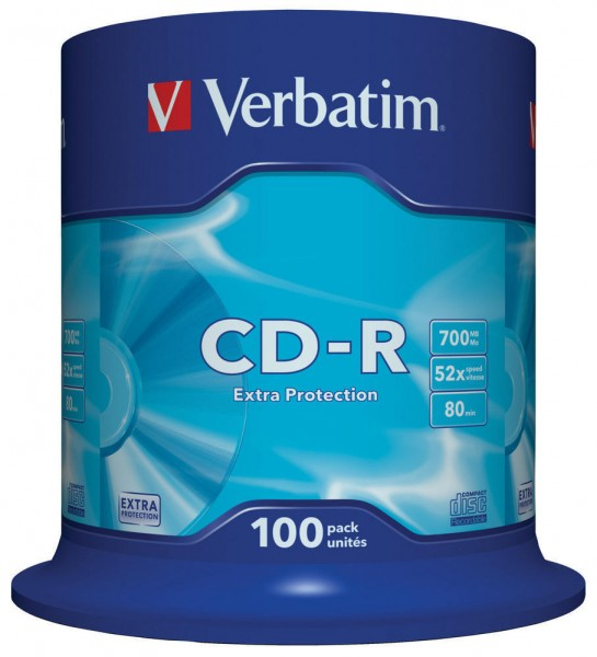 CD-R Verbatim 700MB 80Min.52x Spindel Extra Protection (100 Stck)
