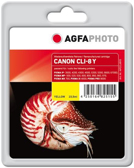 AGFAPHOTO Tintenpatrone kompatibel zu Canon CLI-8 Yellow
