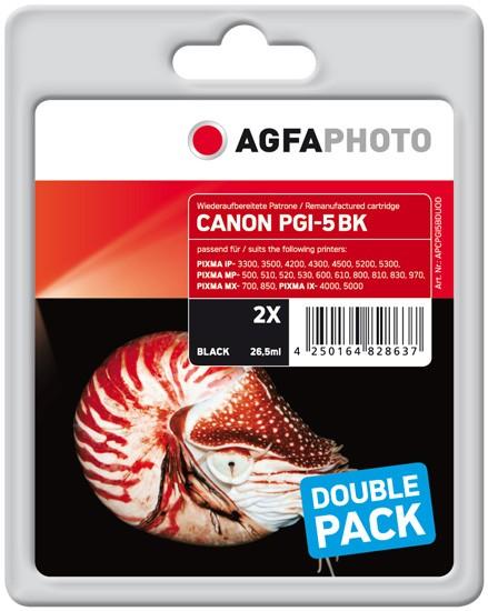 Doppelpack! AGFAPHOTO Tintenpatronen kompatibel zu Canon PGI-5 Black (2)