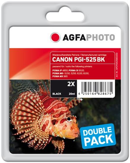 Doppelpack! AGFAPHOTO Tintenpatronen kompatibel zu Canon PGI-525 Black