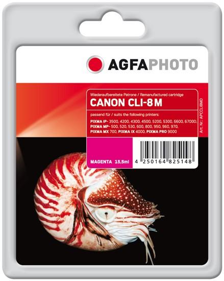 AGFAPHOTO Tintenpatrone kompatibel zu Canon CLI-8 Magenta