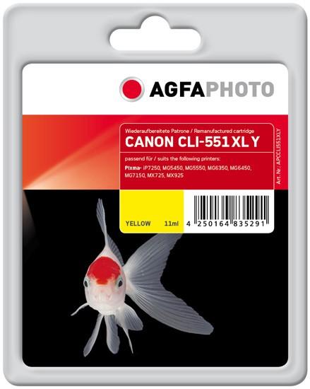 AGFAPHOTO Tintenpatrone kompatibel zu Canon CLI-551XL Yellow