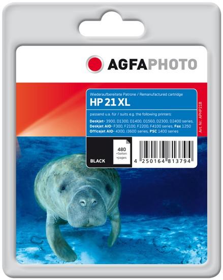 AGFAPHOTO Tintenpatrone kompatibel zu HP 21XL / C9351CE Black (15ml)