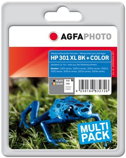 Multipack! AGFAPHOTO Tintenpatronen kompatibel zu HP 301XL Black+Color