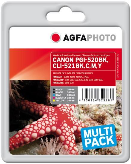 Multipack! AGFAPHOTO Tintenpatronen Kompatibel zu Canon PGI-520 / CLI-521 (5)
